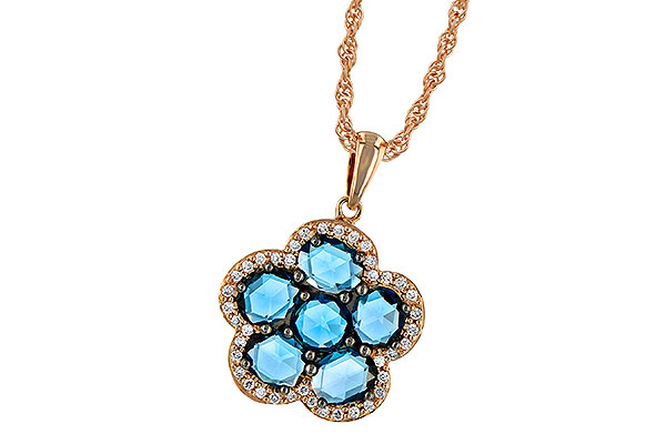 A206-21968: NECK 1.80 ROSE CUT BLUE TOPAZ 1.95 TGW